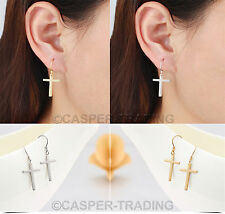 Womens Fashion Jewellery Silver Hook Cross Concise Drop Dangle Stylish Earrings