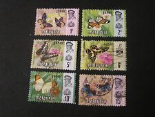 JOHORE, SCOTT # 176-181(6), TOTAL 6 1971 BUTTERFLIES ISSUE USED