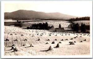 "1940s MOSCOW, Idaho RPPC Real Photo Postcard ""HARVEST TIME"" Farm Field Panorama"