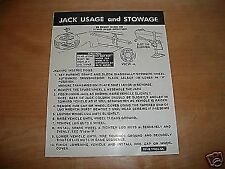 1976 1977 LINCOLN CONTINENTAL JACK INSTRUCTIONS DECAL