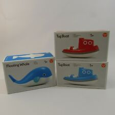 Floating Whale & Blue Red Tugboat Lot of 3 Bath Toys Floating Kid O Water Fun