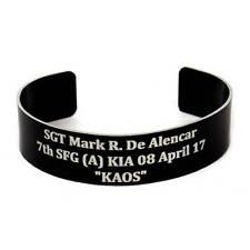 New Custom Military Laser Engraved KIA Memorial Remembrance Bracelet Army