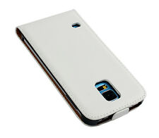 For Samsung Galaxy S5, White Genuine Real Leather Flip Phone Case Cover
