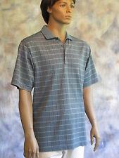 GREG NORMAN Golf Polo Shirt Sz XL Blue Plaid 100% Polyester Short Sleeve
