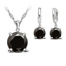 925 Sterling Silver Black Cubic Zirconia Jewellery Set. Necklace + Drop Earrings
