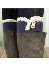 Crochet Leg Warmers Lace Edge Two Button Accent MIDNIGHT BLUE