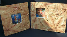 """Photo Frames by Images- Leaves Imprinted with touch of Gold Set- 2 3 x 3"""" photos"""