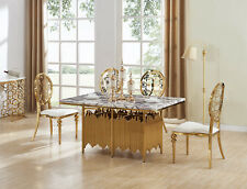 ELEGANT & STUNNING AETHER GOLD DINING TABLE NEW WITH MARBLE TOP & 6 CHAIRS