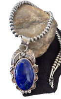 MENS Yazzie Sterling Silver Navajo Pearls Lapis Necklace Pendant 01526