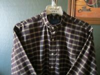 LARGE 16.5-32/33 WRINKLE FREE TOWNCRAFT PLAID BANDED COLLARLESS WESTERN SHIRT