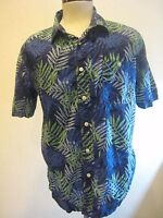Croft & Barrow Vintage Cotton Dark Blue and Green Floral Hawaiian Shirt Size L