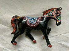 """Vintage Black Lacquer Wood Hand Painted Horse Figurine ~ 3 1/4"""" to top of head"""