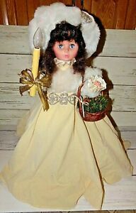 Vintage Motionette Christmas Animated Victorian Girl Figure w/ Tan Dress Lighted