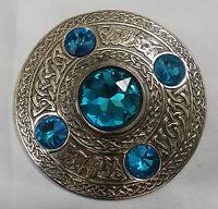 Kilt Fly Plaid Brooch Antique Celtic Knot Design/Fly Plaid Brooch Sky Blue Stone