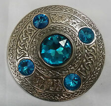 Kilt Fly Plaid Brooch Antique Celtic Knot Design/Fly Plaid Brooch Sky Blue Stone