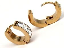 Huggie Earrings Yellow Gold PVD Hypoallergenic Surgical Steel Clear Baguettes
