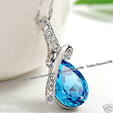 Blue Crystal Necklace Silver Pendant Chain Valentines Gifts For Her Girlfriend