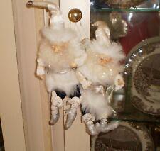 "Estate Mark Roberts 2 Santa Fairy Ornaments white jackets 9"""