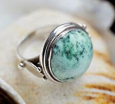 Silberring 54 Türkis Braun 2 cm Antik Design Handarbeit Ring Silber Verspielt