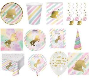Unicorn Sparkle  Party Tableware Cups Plates Napkins Hats Invitations etc