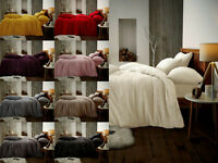 Luxury Teddy Fleece Warm Duvet Cover Set With Pillow Cases Single Double King