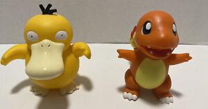 Vintage 1998-1999 Pokemon Psyduck + Charmander 6 Inch Soft Vinyl Figures By Tomy