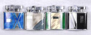 """Lot of (4) Vintage Enamel ART DECO Design Pocket Cigarette Torch Lighter 1.75""""H"""