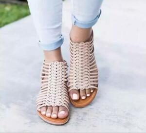 Gladiator Retro Womens Hollow Out Zip Summer Roman Flats Open Toe Shoes Sandals