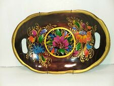 """Vintage Hand Painted Mexican Colorful Floral 12"""" Wood Tray"""
