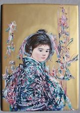 EDNA HIBEL Porcelain Art Tile UME Oriental Girl, Limited Edition