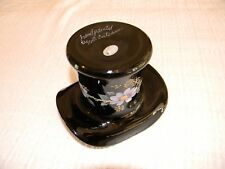 FENTON ART GLASS BLACK TOP HAT Hand Painted Flowers