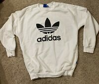 Adidas Crew Neck Sweatshirt, Mens Sz Small, White With Black Leaf Logo, Pockets