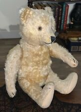 """ANTIQUE STEIFF GERMAN 12"""" TEDDY BEAR Gold Mohair - Glass Eyes - Jointed ~ TAGGED"""