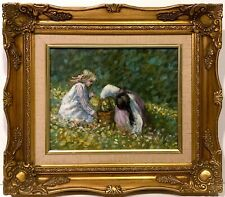 20th c. American Contemporary OIL PAINTING Little Girls Picking Flowers