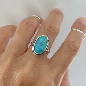 Sterling Silver Oval Genuine Turquoise Ring, Statement Ring, Silver Ring