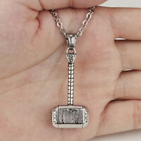Stainless Steel Thors Hammer Pendant Necklace Men Hammer of Thor Necklace