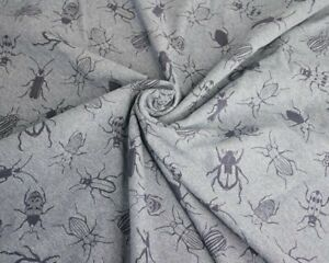 Bug Print Jersey French Terry Fabric COLOURFUL bugs indigo Knit Stretch Material