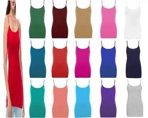 Women Scoop Neck Sleeveless Ladies Long Stretch Plain Vest Strappy T-Shirt Top