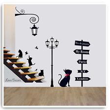 Gato Animal Pegatinas De Pared Niños Guardería Calcomanía & Lámpara Salón Hogar Arte Mural