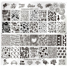 2Pcs Nail Stamping Plates Template Celebration Valentine's Day Kit Born Pretty