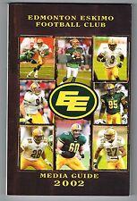 2002 Edmonton Eskimos CFL Canadian Football League Media GUIDE
