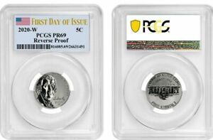 2020 W JEFFERSON NICKEL 5C REVERSE PROOF PCGS PR69 FIRST DAY OF ISSUE FLAG T16