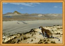 Tiger on the watch Jean-LEON GEROME animaux désert cachent sable dunes B a2 02538