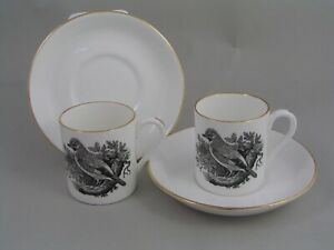 TWO CROWN STAFFORDSHIRE THOMAS BERWICK JAY COFFEE CUPS/CANS AND SAUCERS.