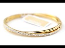 Michael Kors MK Brilliance Crisscross Gold Bangle Bracelet Crystals MKJ3277710