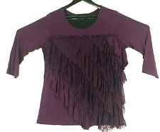 One World Womens Size Large Purple Lace Ruffle Front 3/4 Sleeve Stretch Top NWT