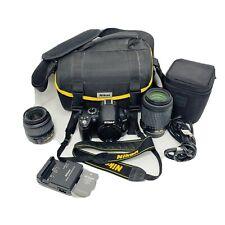 Nikon D3000 10.2 MP DSLR Bundle with 18-55mm, 55-200mm Lens Nikon Bag Strap Nice