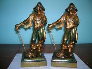 BIG antique pirate bookends Pompeian Bronze clad, Paul Herzel, orig paint, 1922