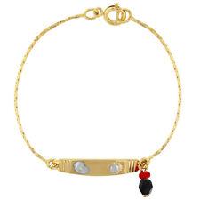 "18k Gold Plated Simulated Azabache Bracelet Kids Evil Eye Protection Charm 5.5"""