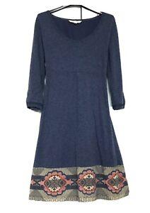 Fat Face UK 14 Long Sleeve Jeans Blue Wool Blended Jumper Dress